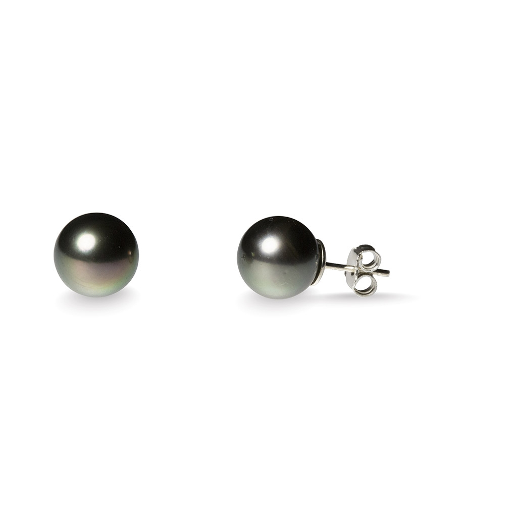 Pearl and silver stud earrings