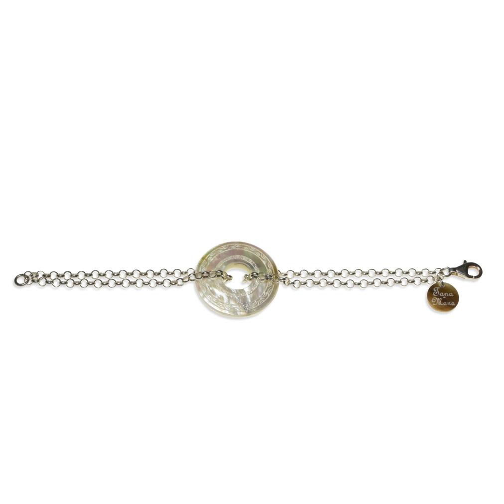 Mother of Pearl and silver Annular bracelet