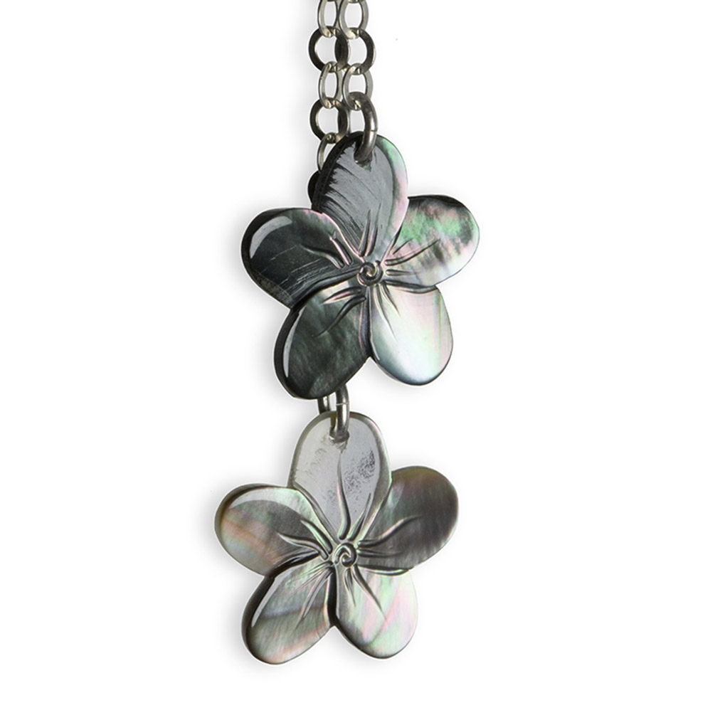 Mother of Pearl and silver Tipanier pendent earrings
