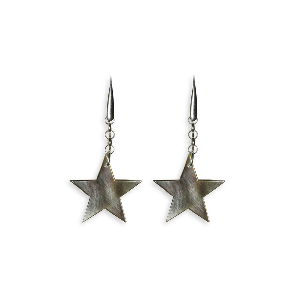 Mother of Pearl and silver Star pendent earrings