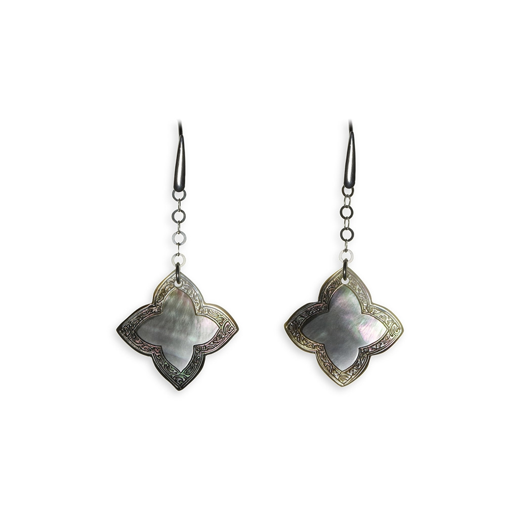Mother of Pearl and silver Quatrefoil pendent earrings