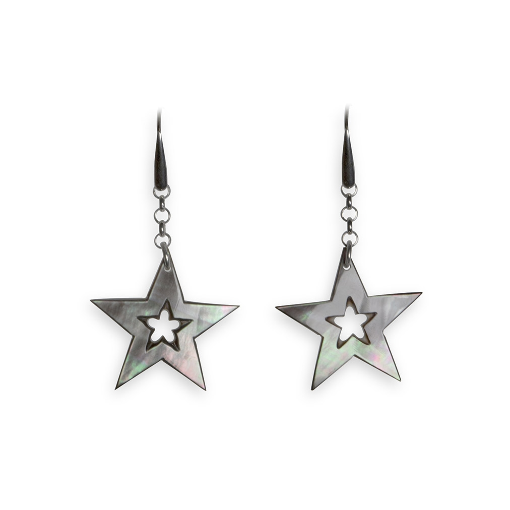 Mother of Pearl and silver Starlight pendent earrings