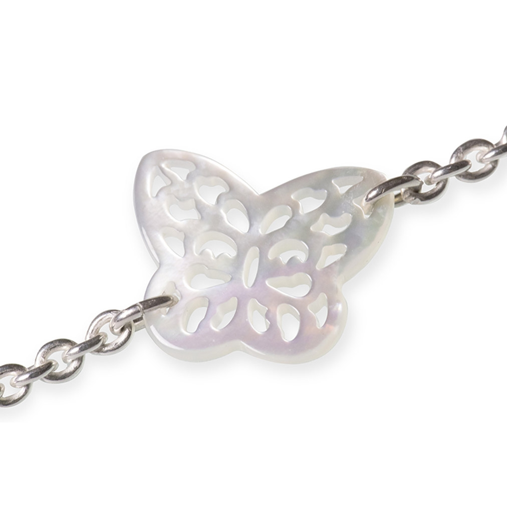 Mother of Pearl and silver stylised Butterfly bracelet
