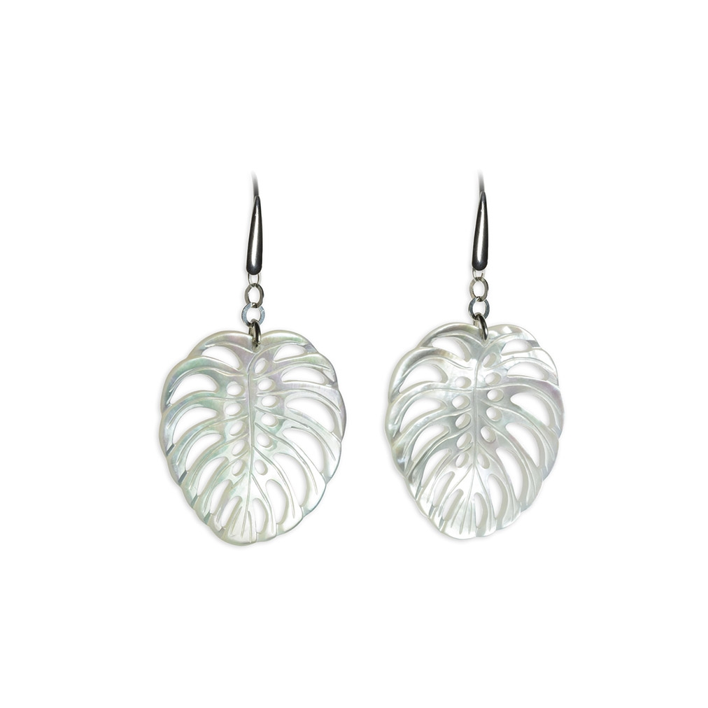 Mother of Pearl and silver Leaf pendent earrings